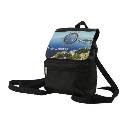 城市手袋(黑色聚酯,卡其色帆布)